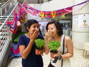 A group handed out parsley? plants for free and you're supposed to pet them for good luck. (We just loved the smell too)