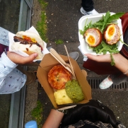 Borough Market eating meatpies, mint mushed peas and scotch eggs (which were the bomb!)